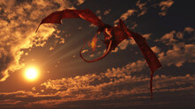 Red Dragon Attacking From A Bright Sunset Sky, 3d Digitally Rendered Fantasy Illustration