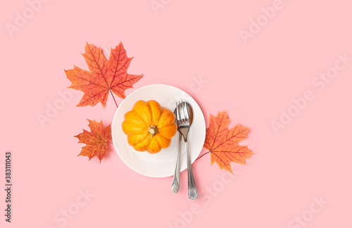 autumnal maple leaves and pumpkin on plate on pink background. flat lay. autumn composition. Fall season concept. thanksgiving and halloween holiday.