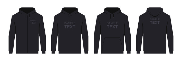 Men's hoodie Black. Blank template hoody front and back view. isolated on white background