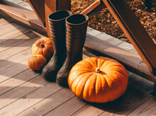 Pumpkin And Rubber Rain Boots ...