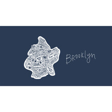 Vector Map Of Brooklyn New York USA Flat Hand-drawn Illustration. American Attractions States, City, District, Name Cartoon Inscriptions, Tourist Places Clipart. Travel To The USA, Travel Poster