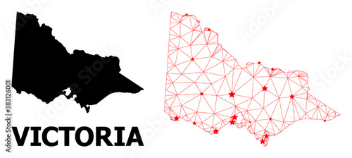 Fotografía Wire frame polygonal and solid map of Australian Victoria