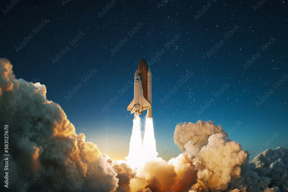 New Ship flies to another planet. Spaceship takes off into the starry sky. Rocket starts into space. Concept