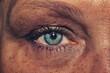 Female eye. freckled skin. mascara on the eyelashes. iris close up