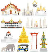 Thai Famous Landmark Icons. Ve...