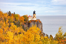 Split Rock Lighthouse On The North Shore Of Lake Superior In Minnesota During Autumn
