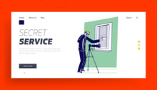 Special Agent With Professional Photo Camera Surveillance Landing Page Template. Man Looking In Window, Secret Service