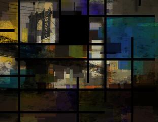 Anstract pattern with Manhattan bridge background. 3D rendering