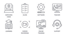 Video Tutorial Line Icons. Vector Set Editable Stroke. Learning Lesson Watching Video Guide. Software Screen Recording Teacher Online Training Support