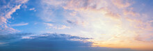Pastel Colored Sunset Sky Long Panoramic View