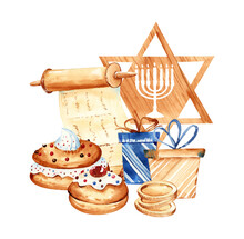 Jewish Holiday Hanukkah Banner Design With Traditional Elements And Bakery. Jewish Hanukkah Holiday. Happy Hanukkah Greeting Card Template.