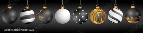 Fototapeta Christmas glass ball ornaments multiple colors and styles obraz