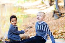 Two Little Boys Posing In Autu...
