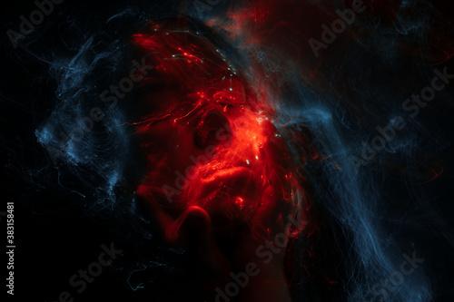 Obraz na plátně lightpainting portrait, new art direction, long exposure photo without photoshop