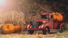 Autumn Composition. Red Pickup Truck With Pumpkin And Straw Bale. Farm Country Style Decorations. Happy Thanksgiving Day.