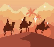 Nativity Three Wise Men At Desert On Orange Background Design, Merry Christmas Theme Vector Illustration