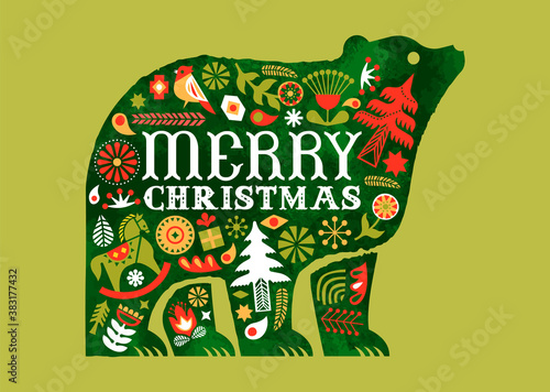 Merry Christmas retro watercolor folk bear card