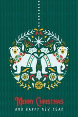 Fototapeta Berlin Christmas New Year scandinavian polar bear card