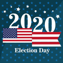 USA Election Day Poster. Vote 2020 - Vector Illustration