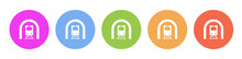 Multi Colored Flat Icons On Round Backgrounds. Train, Tunnel Multicolor Circle Vector Icon