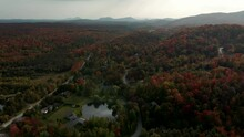 Gorgeous View Of Colorful Autumn Trees In Quebec Canada - Aerial Shot