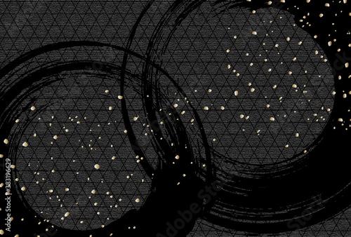黒い和柄背景 Fotobehang