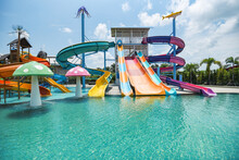 Water Park Slide With Swimming...
