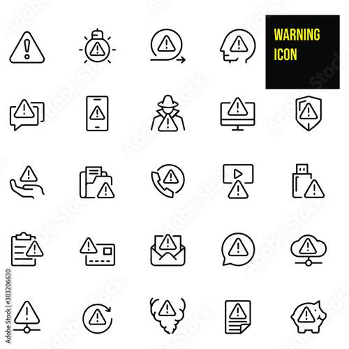 Photo Warning icon set stock illustration