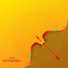 Happy Dussehra Indian Festival Card With Bow And Arrow On Orange Background With Mandala.