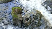 River Running Wild Over Rocks ...