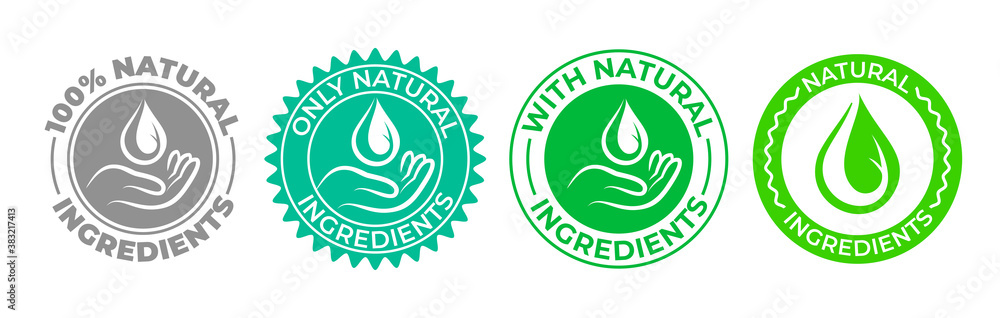 Fototapeta Natural ingredients product icon, green organic bio vector logo with hand and water drop. 100 percent only natural ingredients made, pure organic eco label certificate stamp for natural products