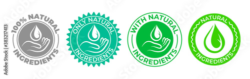 Obraz Natural ingredients product icon, green organic bio vector logo with hand and water drop. 100 percent only natural ingredients made, pure organic eco label certificate stamp for natural products - fototapety do salonu