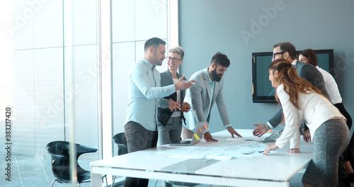 Fototapeta Perspective businesspeople having meeting in conference room obraz
