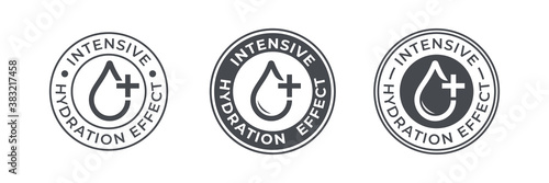 Tableau sur Toile Hydration drop water icon, moisturizing and hydrate intensive effect, vector logo