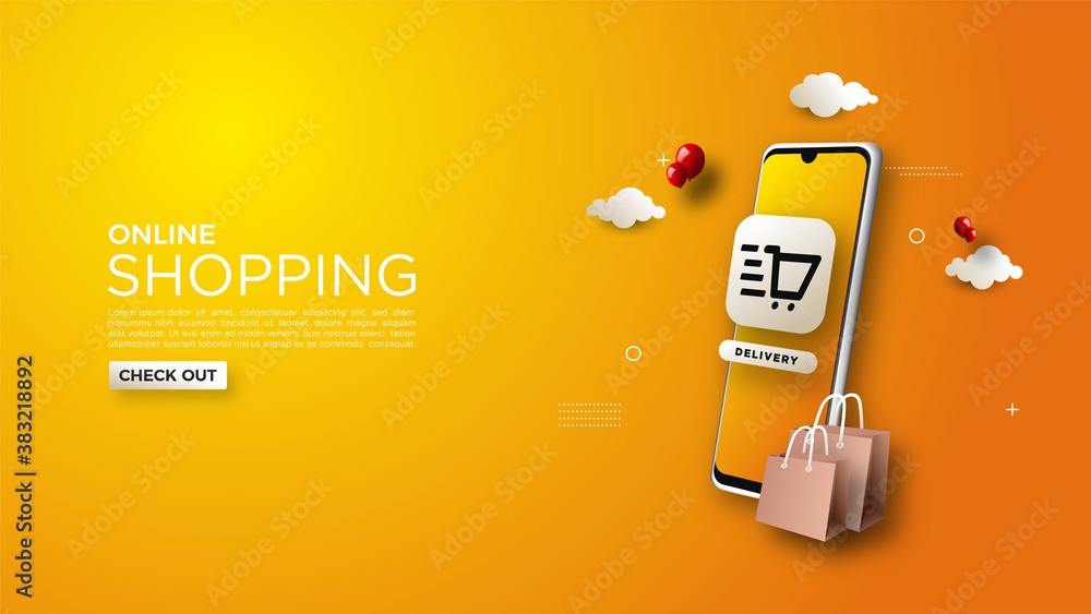 Fototapeta Online shopping background, with illustrations of mobile phones and simple shopping bags.