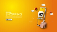 Online Shopping Background, Wi...