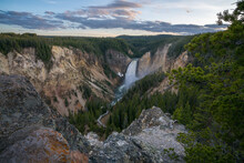 Lower Falls Of The Yellowstone National Park At Sunset, Wyoming, Usa