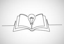 Continuous Line Vector Illustration Of Book With Idea Light Bulb On White Background, Icon Or Emblem Trendy Linear Style.