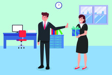 Business Vector Concept: Businessman Refusing A Gift For A Bribe From A Businesswoman