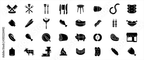 Simple Set of butchery and meat shop Related Vector icon graphic design Fotobehang