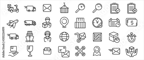 Simple Set of delivery, courier and shipping Related Vector icon graphic design Fotobehang