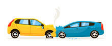 Frontal Car Collision. Trouble Situation On Traffic Road Vector Illustration. Frontal Car Impact Collision With Bumper Injury Isolated On White Background