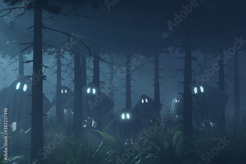 Cuadros en Lienzo umherfliegende Gespenster im düsteren Wald in der Nacht
