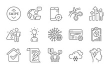 Seo Phone, Feather And Scissors Line Icons Set. Coronavirus, Education And Report Signs. Mindfulness Stress, Web Settings And Employee Results Symbols. Swipe Up, Snow Weather And Teamwork. Vector
