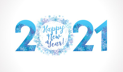 2021 snowflake ball white & Happy New Year lettering. 20 & 21 inscription and greeting text, vector Illustration for Christmas banner or greeting card