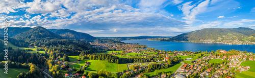 Fototapeta Tegernsee lake in the Bavarian Alps. Aerial Panorama. Autumn. Germany obraz