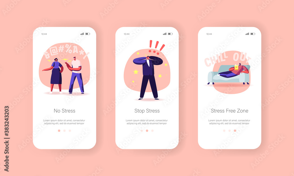 Obraz Stop Stress Mobile App Page Onboard Screen Template. Characters Need Professional Aid, People Fighting, Mental Disorder fototapeta, plakat