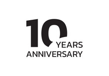 10th Anniversary Logo. 10 Years Celebrating Icon Or Badge. Vector Illustration.