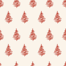 Red Christmas Trees Seamless P...