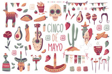 Cinco De Mayo Vector Cartoon Holiday Decorations Elements Set Isolated On A White Background.